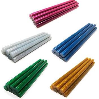 Термоклей стержень 11мм, 19см  цветной с глитером 1шт 120*_Серебро
