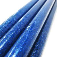 Клеевой стержень, 11мм, 19см  цветной с глитером 1шт 120*_Синий