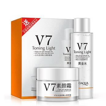 Тонер + крем для обличчя з вітамінним комплексом BIOAQUA V7 Toning Light Vitamins 2 in 1