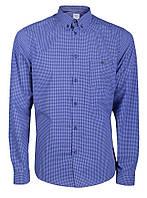 Рубашка мужская повседневная синяя в узор L, Синий
