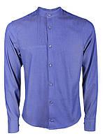 Рубашка мужская повседневная синяя с воротом стойкой M, Синий