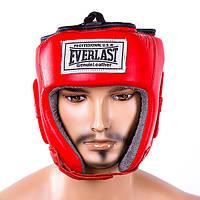 Шлем боксерский Everlast защитный шлем, кожа, красный