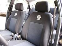 Чехлы на сиденья Daewoo Nexia (подголовники)  2008 - Стандарт 'Prestige' задняя спинка цельная; 4 подголовника