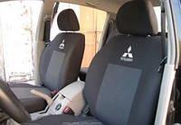 Чехлы на сиденья Mitsubishi Lancer X  2008 -  Стандарт 'Prestige' задняя спинка 1/3 2/3 с подлокотником; 5 подголовников; бочки
