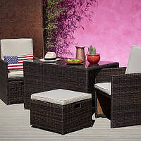 Садовая мебель George Home Borneo Cube 5 Piece Bistro Set - Dark Brown & Linen