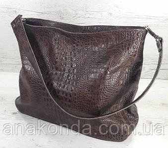 217 Натуральная кожа Объемная женская сумка через плечо Кожаная коричневая рептилия из натуральной кожи сумка