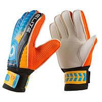 Вратарские перчатки Latex Foam ELITE, размер 9, оранжевый/голубой, фото 1