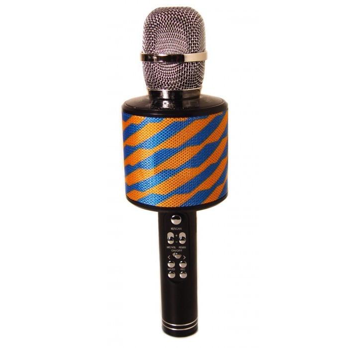 Беспроводной микрофон караоке блютуз K319 Bluetooth динамик USB Сине-желтый