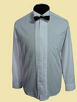 Мужская рубашка под галстук бабочку на запонки белого цвета