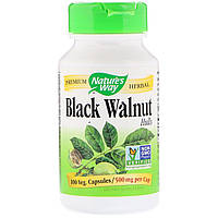 Черный Орех, Black Walnut, Hulls, Nature's Way, 500 мг, 100 Капсул