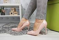 Туфли-лодочки женские на шпильке, пудровые, материал - эко-кожа, код SL-1021