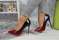Туфли-лодочки женские на шпильке, черно-красные, материал - лаковая эко-кожа, код SL-935-1
