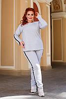 Женский стильный спортивный костюм с лампасом батал