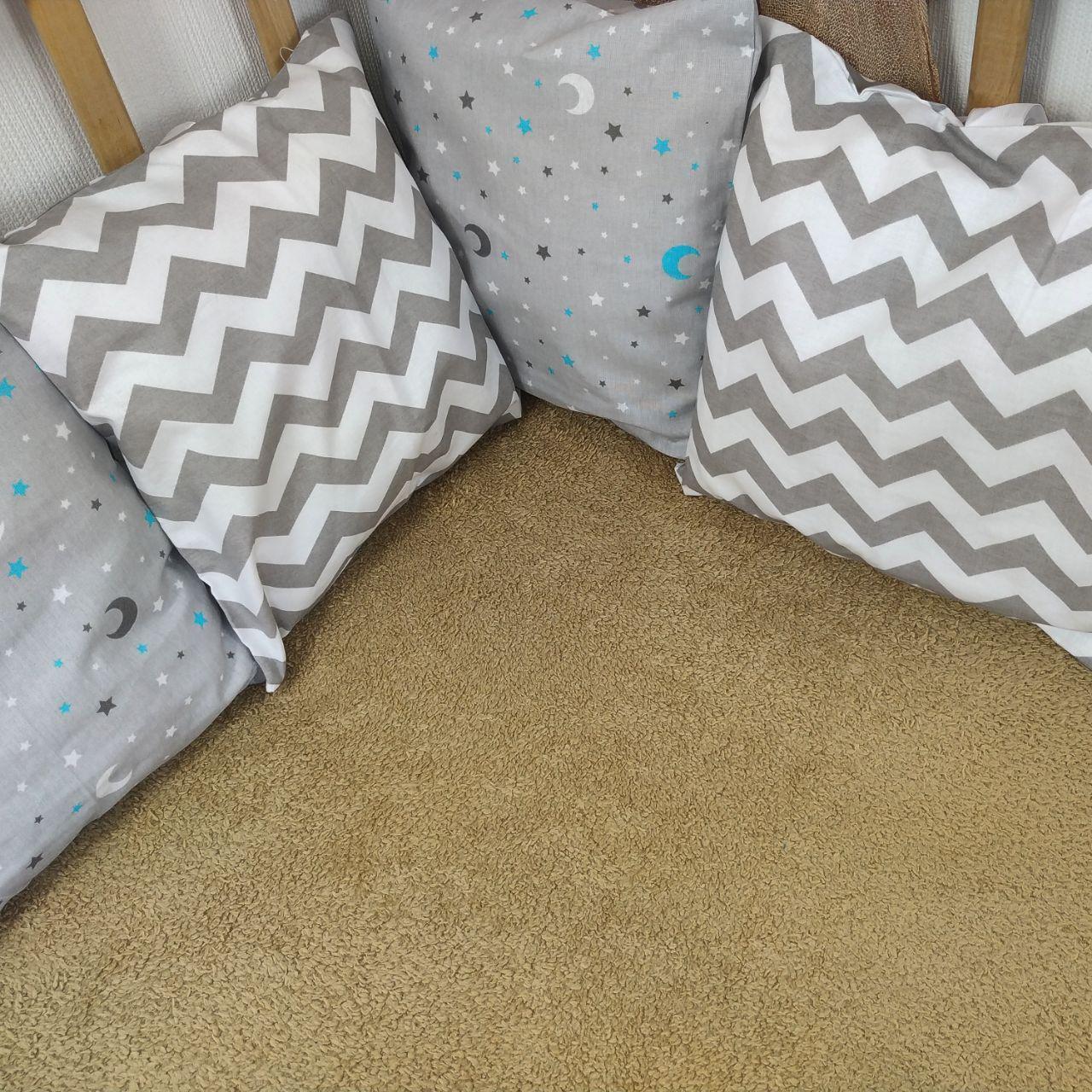 Бортики в детскую кровать на 3 стороны | Бортики в дитяче ліжко на 3 сторони 3 стороны ( 9шт ), С.ЗигЗаг+Ночь