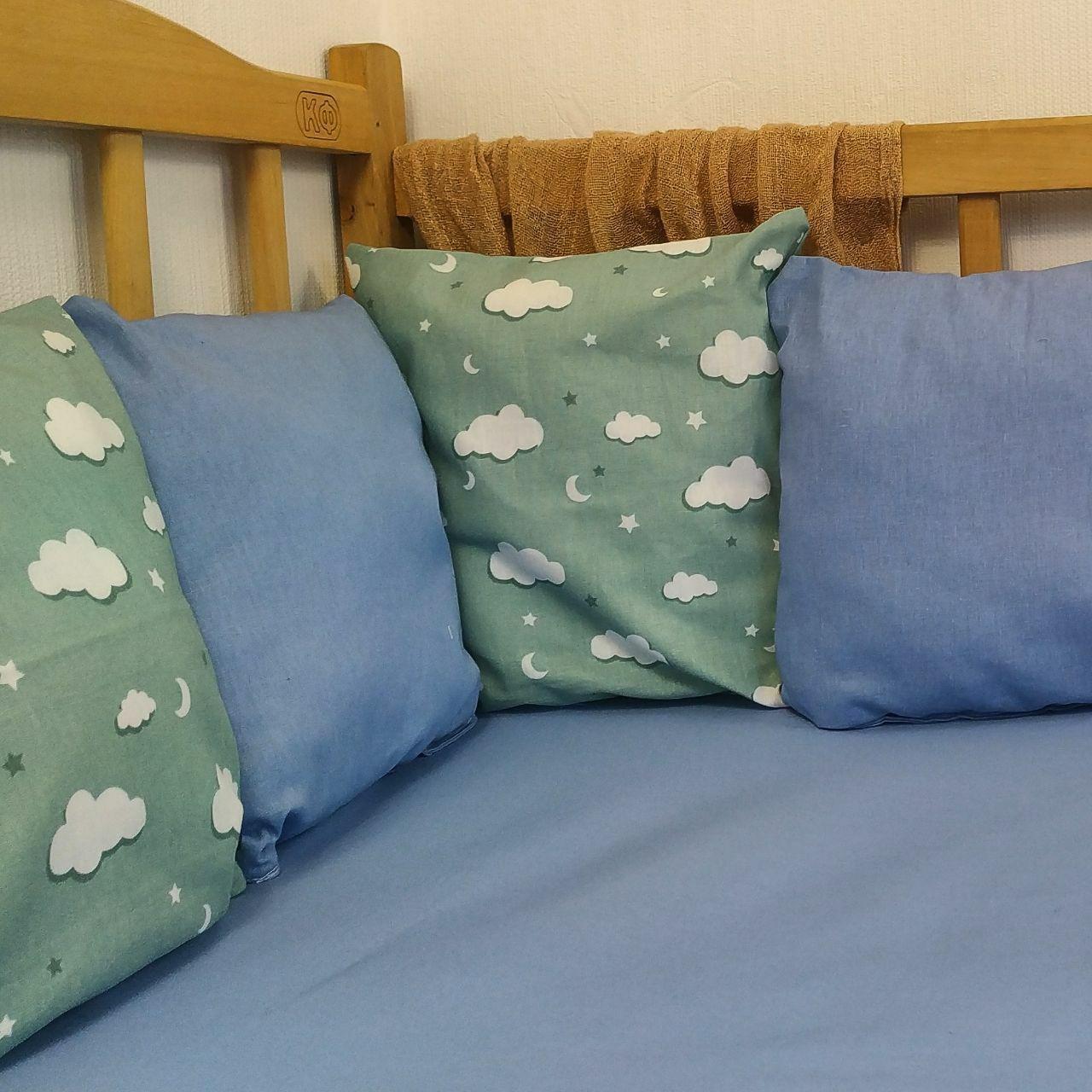 Бортики в детскую кровать на 3 стороны   Бортики в дитяче ліжко на 3 сторони 3 стороны ( 9шт ), Котон+Т-Зеленая туча