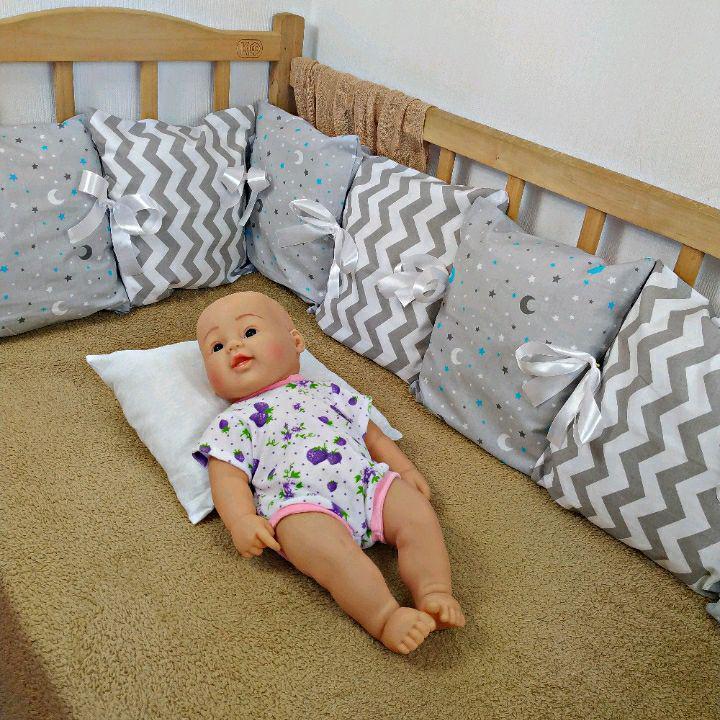 Защита со сьемными наволочками в детскую кровать |  Захист зі зйомними наволочками в дитяче ліжко 3 стороны ( 9шт ), Сер.ЗигЗаг + Звездное небо