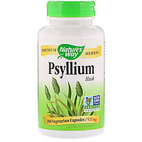 Подорожник (Псилиум), Psyllium, Husks, Nature's Way, 525 мг, 180 капсул