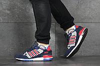 Кроссовки Adidas ZX 750 мужские, т.-синий/красный, в стиле Адидас ЗетИкс 750, нубук, замша, код SD-8350