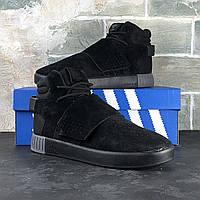 Кроссовки Adidas Tubular мужские, черные, в стиле Адидас Тубулар, замша код IN-284