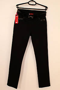 Трикотажные черные брюки с кожаными вставками 46-52 р