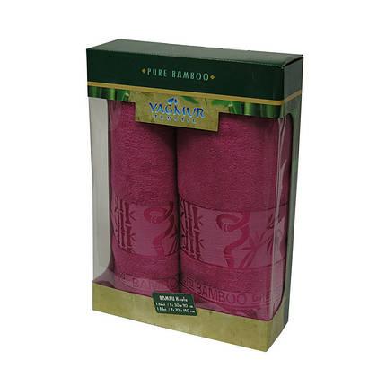 Набор полотенец Bamboo dark-rose 50х90 и 70х140 (5151), фото 2