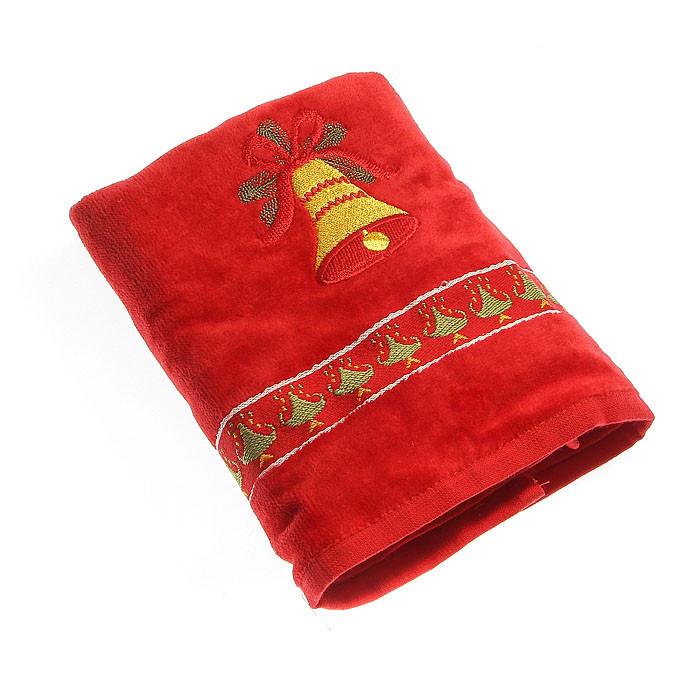 Набор махровых полотенец КРІСМАС колокол красный в коробке 50х75 50х75 (5423)