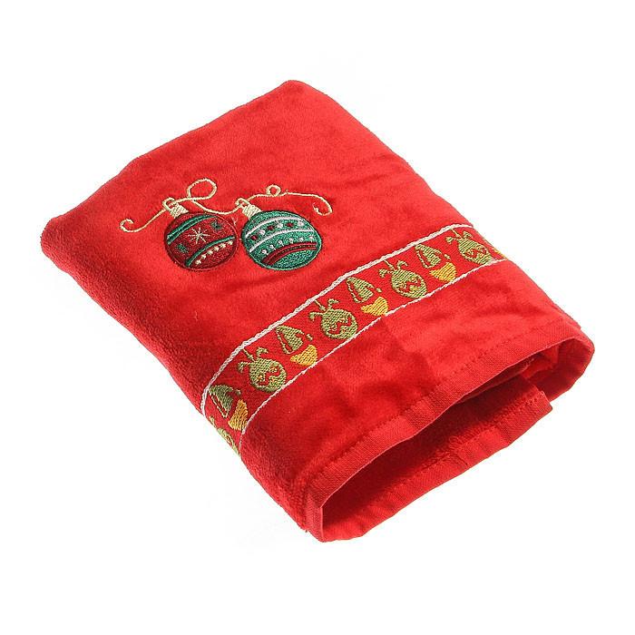 Набор махровых полотенец КРІСМАС шары красный в коробке 50х75 50х75 (5427)