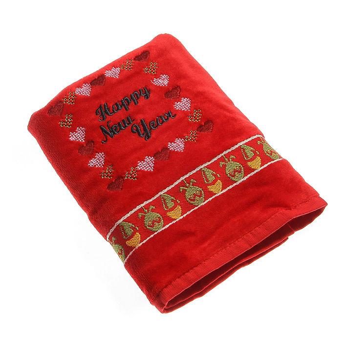 Набор махровых полотенец КРІСМАС HNY красный в коробке 50х75 50х75 (5434)