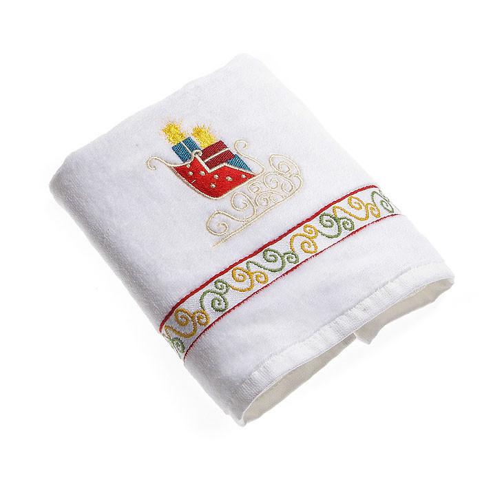 Набор махровых полотенец КРІСМАС сани белый в коробке 50х75 50х75 (5592)