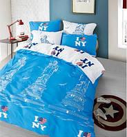 Покрывало Нью-Йорк, бело-голубое (6154)