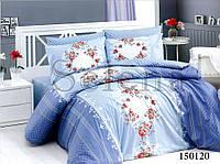 Комплект постельного белья Орнамент цветочный Blue двуспальный евро (7293)
