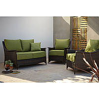 Набор садовой мебели George Home Sumatra 3 Piece Conversation Sofa Set in Olive Green, фото 1