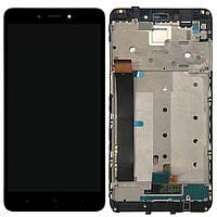 Дисплей (экран) для телефона Xiaomi Redmi Note 4 MediaTek + Touchscreen with frame (copy) Black