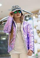 Куртка Подростковая двухсторонняя сиреневая с серебром
