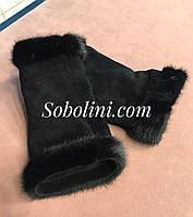 Митенки замшевые с норкой, фото 1