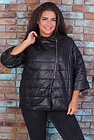 Куртка БАТАЛ с укороченым рукавом М524 чёрная / черного цвета