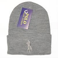 Красивая мужская вязаная шапка Polo Ralph Lauren серая шерсть качественная шапка лопатка Поло реплика