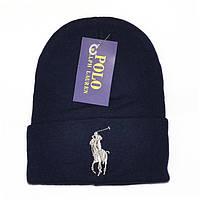Брендовая мужская вязаная шапка Polo Ralph Lauren черно-синяя шерстяная модная молодежная демисезонная реплика