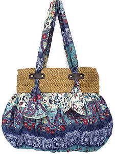 Женская сумка из ткани и рафии