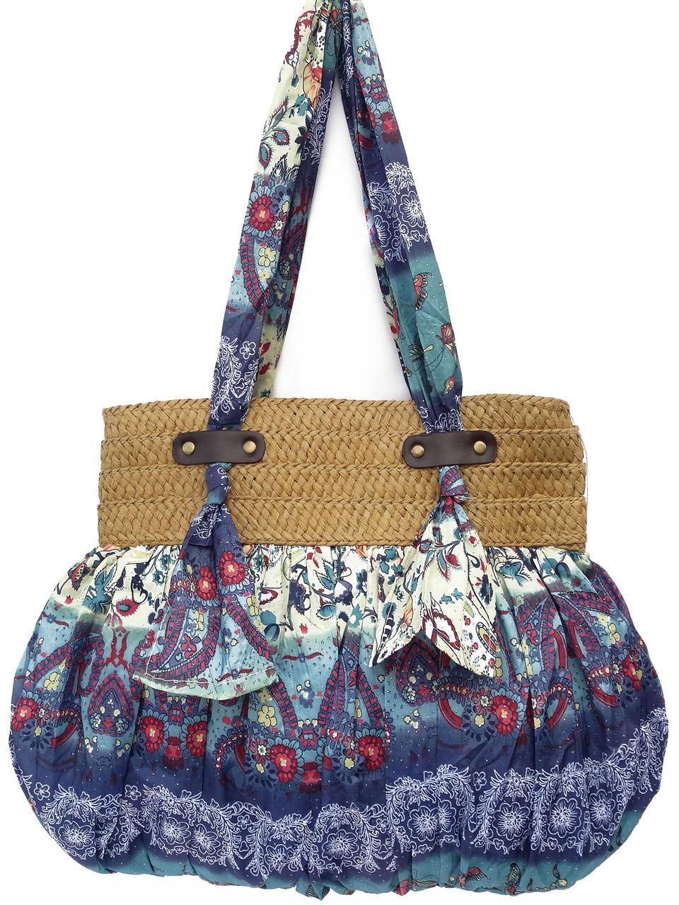 Женская сумка из ткани и рафии - Женская одежда оптом, женская одежда больших размеров - Клуб Оптовых Покупок в Одессе