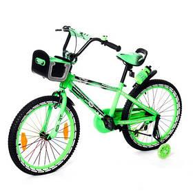 Велосипед двухколесный 20д 2086-20 салатовый со светящейся рамой и корзинкой