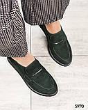39 размер! Стильные замшевые  женские туфли лоферы зеленые, фото 4