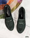 39 размер! Стильные замшевые  женские туфли лоферы зеленые, фото 3