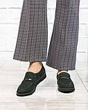 39 размер! Стильные замшевые  женские туфли лоферы зеленые, фото 5