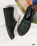 39 размер! Стильные замшевые  женские туфли лоферы зеленые, фото 7