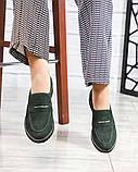 39 размер! Стильные замшевые  женские туфли лоферы зеленые, фото 6