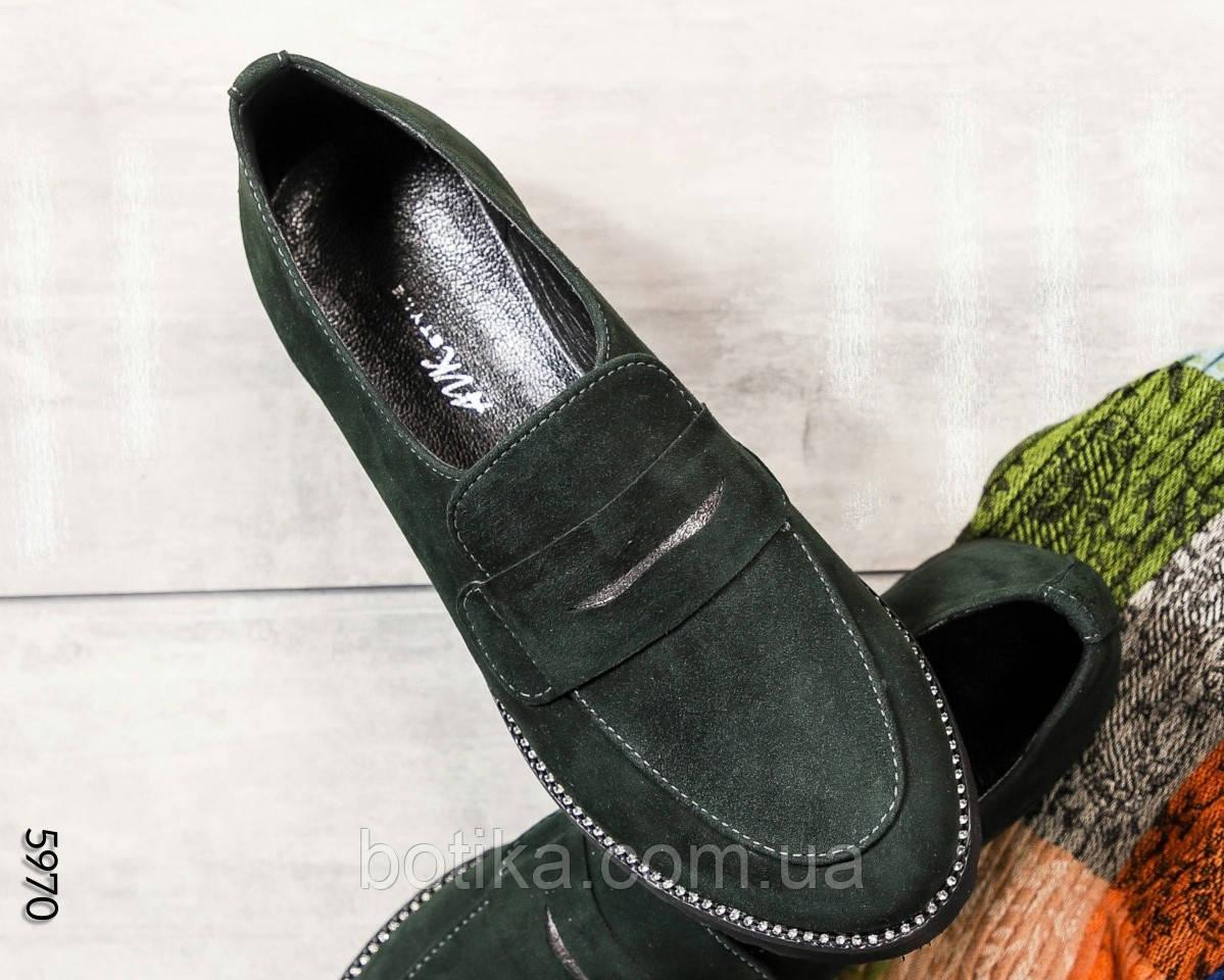 39 размер! Стильные замшевые  женские туфли лоферы зеленые