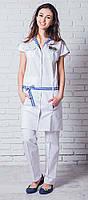 Медицинский халат с поясом короткий рукав