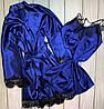 Яркий халат с пеньюаром из атласной ткани, фото 2