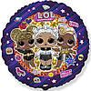 """Фольгированные шары с рисунком 18"""" круг куклы лол lol"""
